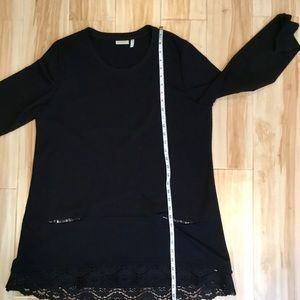 LOGO by Lori Goldstein Tops - LOGO by Lori Goldstein Black Sequin Lace Top